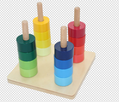Rainbow Discs on 4 Vertical Dowels - Rainbow Discs on 4 Vertical Dowels