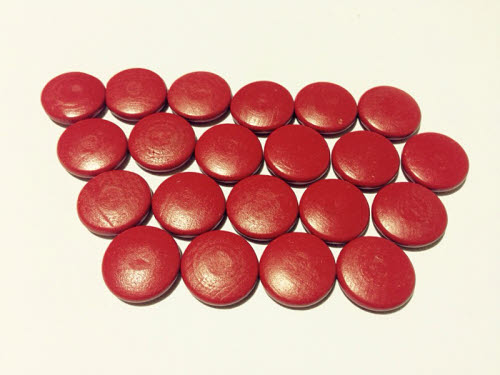 Red Wooden Counters - Set of 20 - Red Wooden Counters - Set of 20