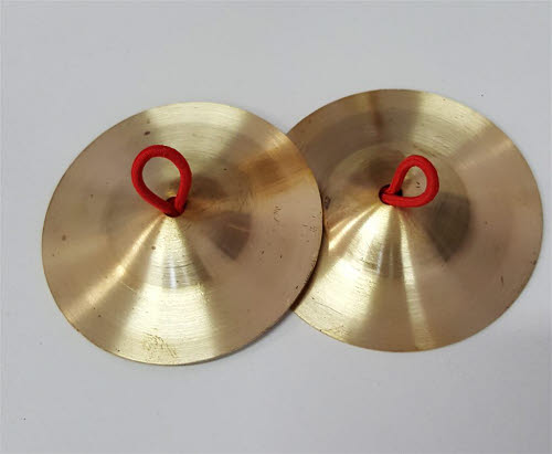 Brass Cymbals 6.5cm Dia. with string Handles - set of 2 - Brass Cymbals 6.5cm Dia. with string Handles - set of 2