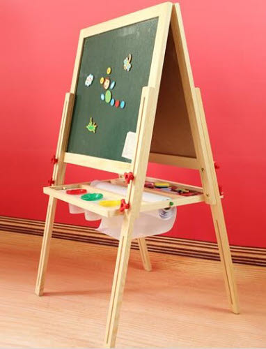 Easel Adjustable Height with Magnetic Boards - In Pinewood - Easel Adjustable Height with Magnetic Boards - In Pinewood