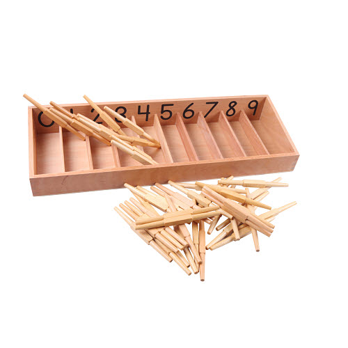 Spindle Box with 45 spindles - Montessori Spindle Box with spindles