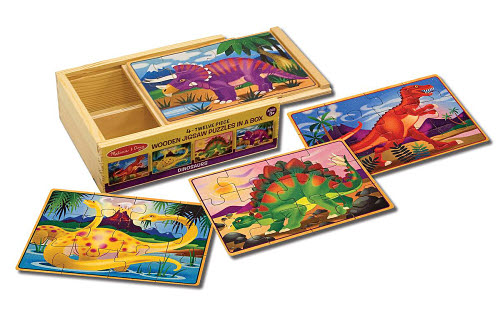 M&D - Dinosaurs Puzzles in a Box (set of 4) -  Dinosaurs Puzzles in a Box (set of 4)