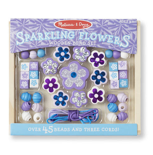 M& D - Wooden Sparkling Flowers Bead Set - Wooden Sparkling Flowers Bead Set
