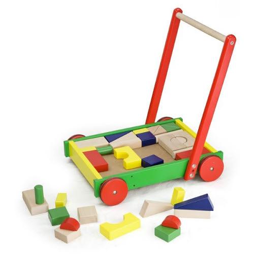 Wagon Push Along with Blocks - Wagon Push Along with Blocks