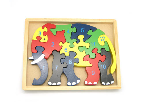 Elephant Numbers Jigsaw in Tray - Elephant Jigsaw in Tray
