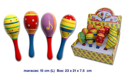 Maracas Single  Assorted Colours (each) - Maraca 2 Sided Rattle