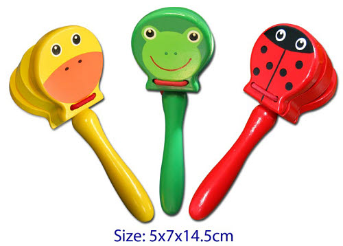 Castanet w/Handle 3 designs  (each) - Castanet w/Handle 3 designs