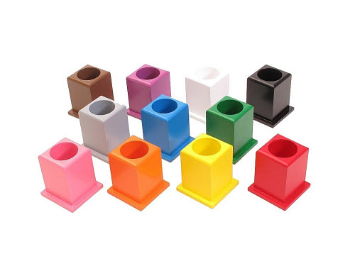 Set Of 11 Coloured Pencil Holders - Timber Square Base - Montessori Set of 11 Coloured Pencil Holders - Timber Square Base