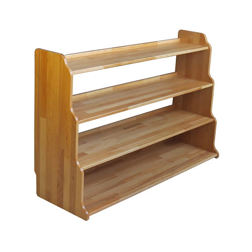 Montessori Stepped Back 4 Shelf Unit in Solid Beech Wood - Montessori Stepped Back 4 Shelf Unit in Beech Wood