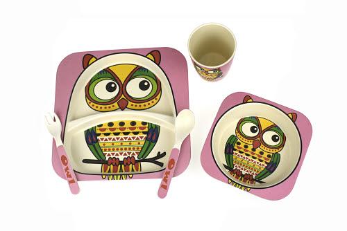 Bamboozoo Dinnerware Owl 5pc - Clone# Bamboozoo Dinnerware Owl 5pc