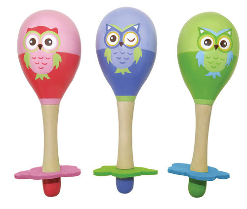 Wooden Owl Maracas in Pair - Wooden Owl Maracas in Pair