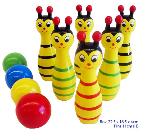 Wooden 10 Pin Bee Bowling Set - Wooden 10 Pin Bee Bowling Set