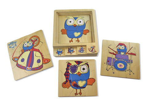Dicoveroo - Hoot 4 in 1 Layer Puzzle - Hoot 4 in 1 Layer Puzzle