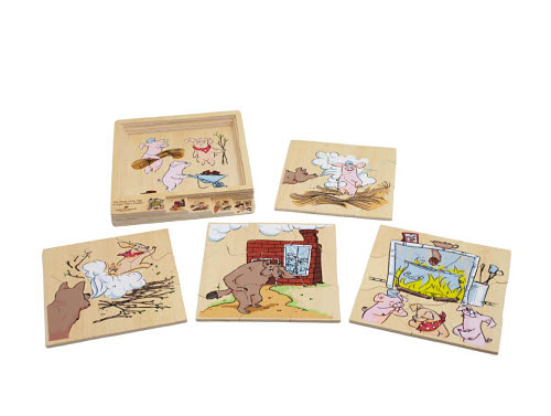 Dicoveroo - 3 Little Pigs 4 Layered Story Puzzle - 3 Little Pigs 4 Layered Story Puzzle