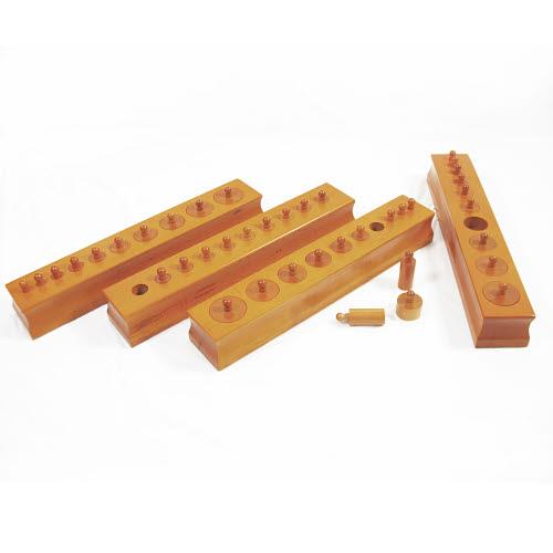 Knobbed Cylinder Blocks - PREMIUM Set (Factory Seconds) - Knobbed Cylinder Blocks in Beechwood - PREMIUM Set