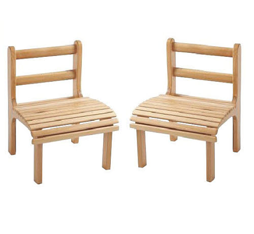 Chair Slatted Beech Wood, Toddler Size (Set of 2 Chairs) - Chairs Slatted Beech Wood, Toddler Size