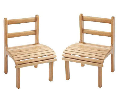 Chair Slatted Beech Wood, Child Size (Set of 2 Chairs) - Chairs Slatted Beech Wood, Child Size