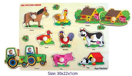 Horse and Farm - Puzzle with knobs - Horse and Farm - Puzzle with knobs