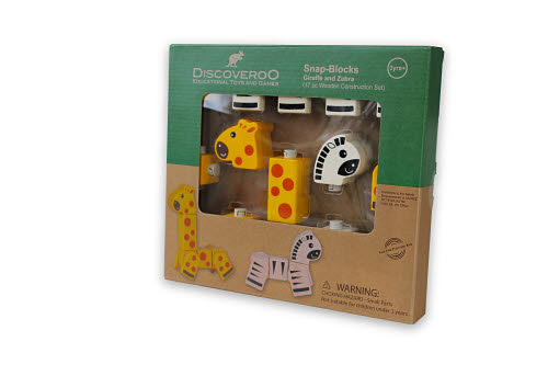 Discoveroo -Snap blocks Giraffe & Zebra - Discoveroo -Snap blocks Giraffe & Zebra
