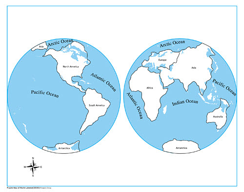 Control Map Labelled - World Parts (Plastic PVC) - Plastic Control Map Labelled - World Parts