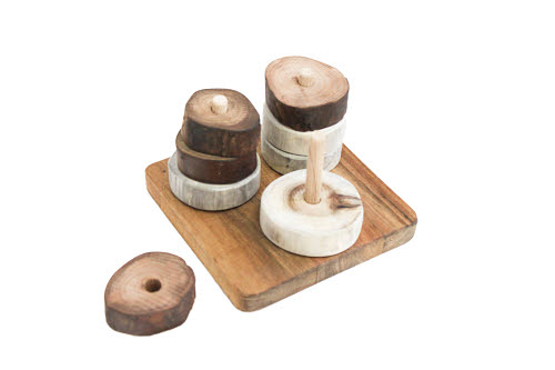 Montessori Natural Discs on 3 Vertical Dowels - Montessori Natural Discs on 3 Vertical Dowels