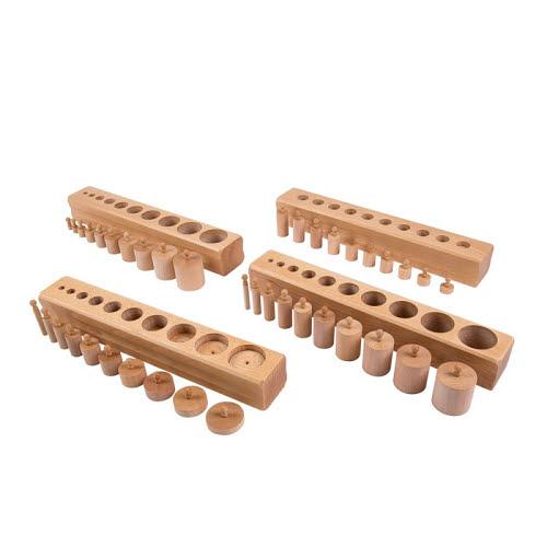 Knobbed Cylinder Blocks Set - Beechwood - Knobbed Cylinder Blocks - Beechwood