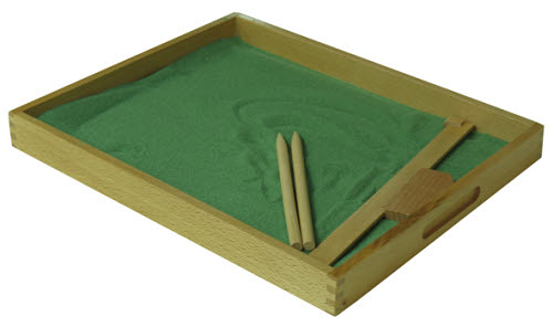 Sand Tracing Tray - Large with clear base and tools - Sand Tracing Tray with clear base and smoothing tool