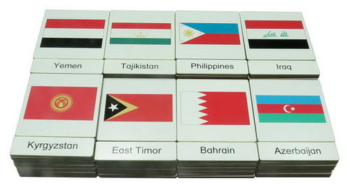 Classification 3 Part Timber Cards - Asian Flags - Classification 3 Part Timber Cards - Asian Flags