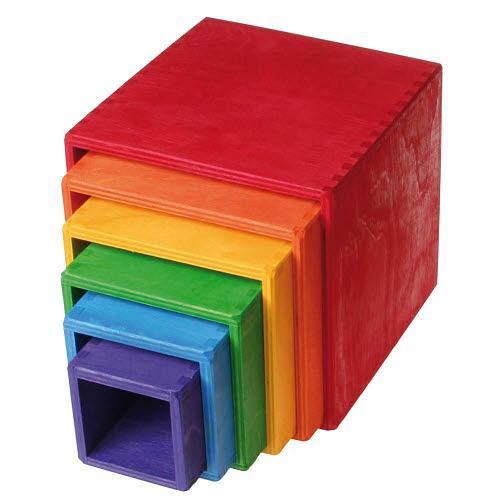 Nested Rainbow Cubes - Pinewood - Nested Rainbow Cubes