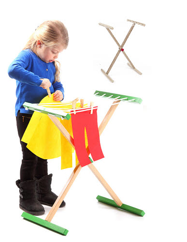Clothes Rack in Natural Timber Finish For Role Play - Clothes Rack For Role Play