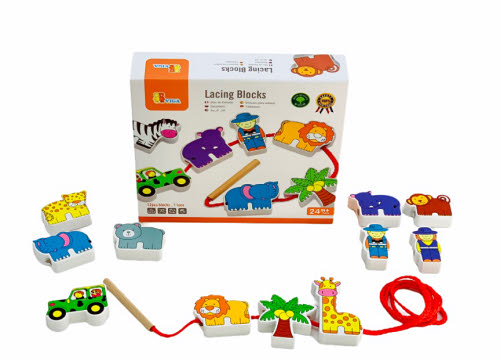 Lacing Blocks -Zoo 12pcs - Lacing Blocks -Zoo 12pcs