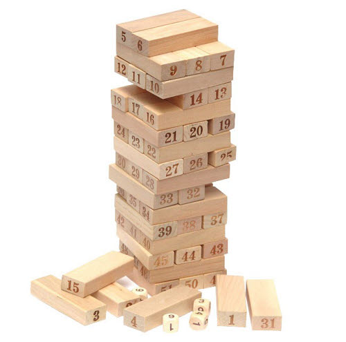 Giant Jenga Natural Timber 54pcs & 3 Dice - Giant Jenga Natural Timber 54pcs