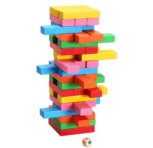 Rainbow Wooden Jenga & Dice  48pcs - Rainbow Wooden Jenga & Dice  48pcs