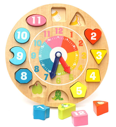Rainbow Wooden Block Clock - Wooden Block Clock (set)