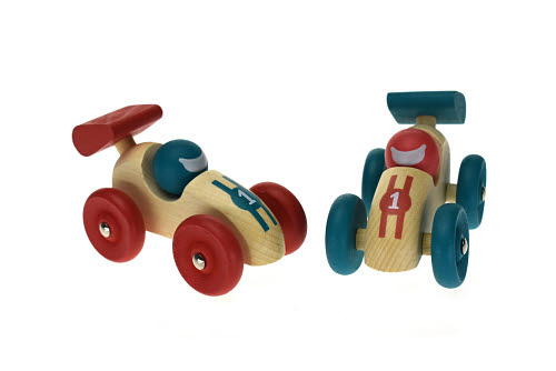 Retro Wooden Racing Car in Red or Green - Retro Wooden Racing Car in Red or Green