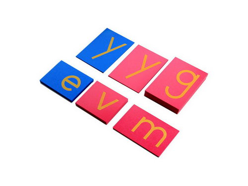 Sandpaper Letters - Lower Case Print - Pink V Blue C - Sandpaper Letters - Lower Case Print - Pink C Blue V (PHOTO SHOWS COLOURS WRONG WAY AROUND)