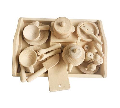 Tableware Set in Natural Timber Finish - Tableware Set in Natural Timber Finish
