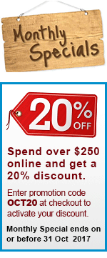 20% Discount on online orders over $250